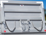 Air-operated tailgate with heavy duty hinges.
