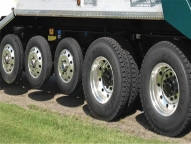 Polished aluminum wheels in multiple tire configurations.